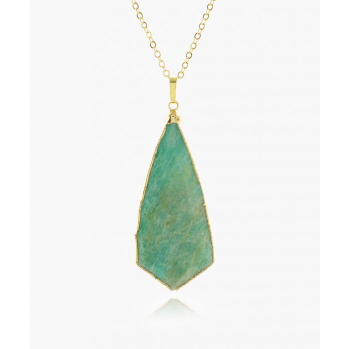 Image for 14k gold-plated and amazonite necklace