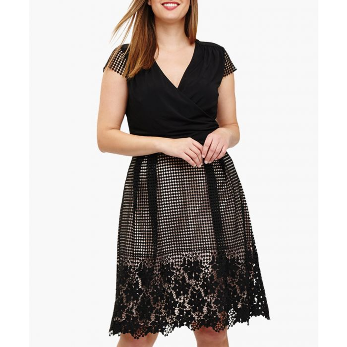 Image for Romola black lace detail v-neck dress