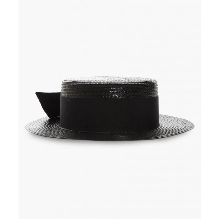 Image for Black staw boater hat