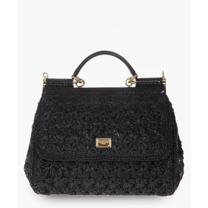Image for medium raffia crochet sicily bag