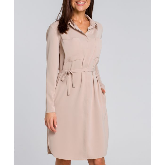 Image for Beige tie-waist mini dress