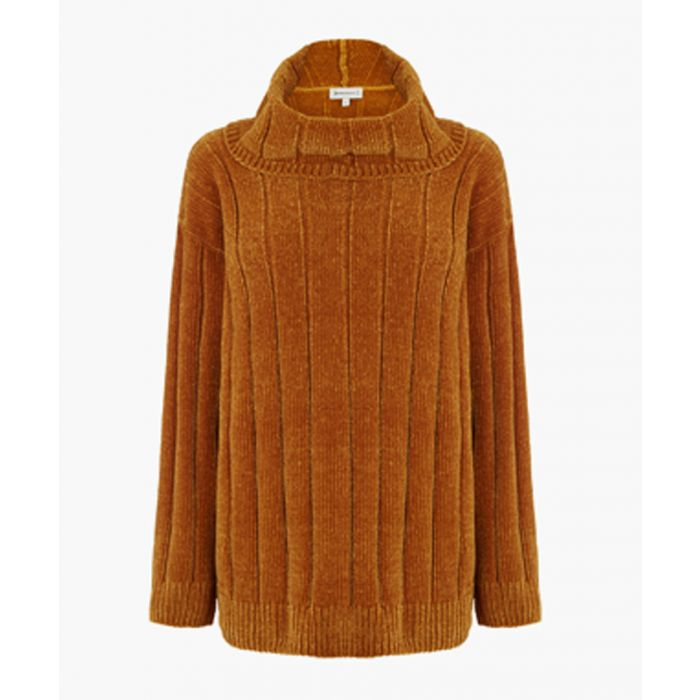 Image for Mustard-coloured chenille high-neck jumper