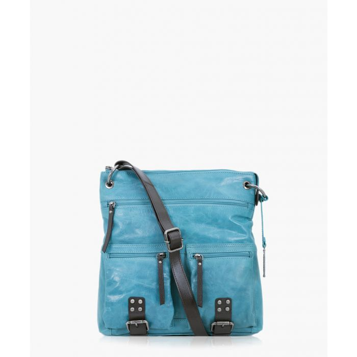 Image for Brown and aqua leather crossbody