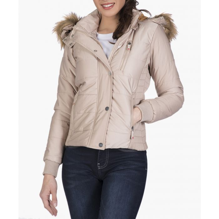Image for Ecru quilted hooded jacket