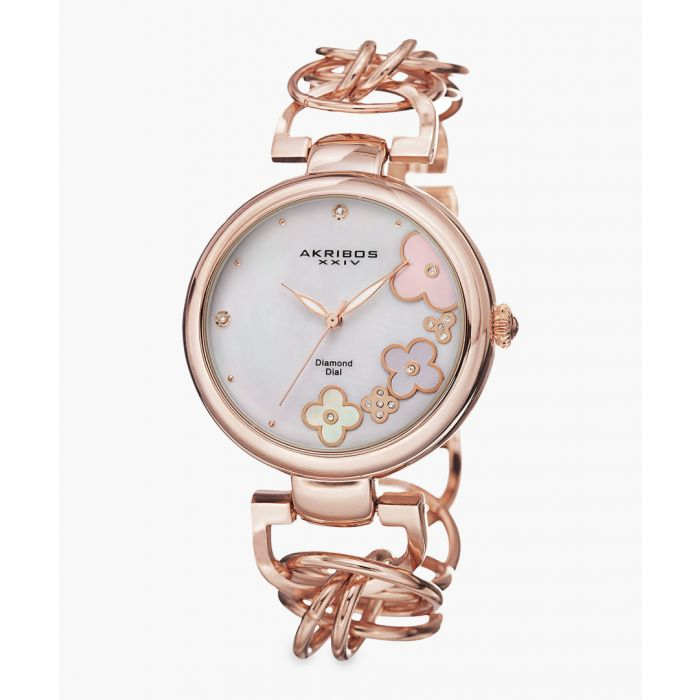 Image for Rose gold-tone and mother-of-pearl embellished watch