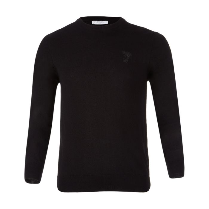 Image for Black pure wool crew neck jumper