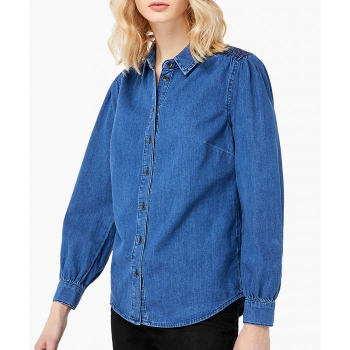 Image for Farah blue denim shirt