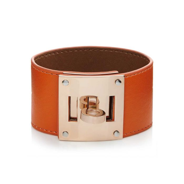 Image for 18k rose gold-plated stainless steel and orange leather bracelet