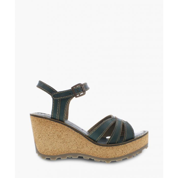 Image for Nile green leather wedge sandals