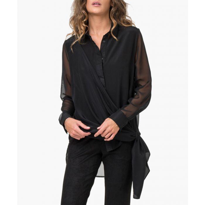 Image for Jet black silk blend wrap around shirt