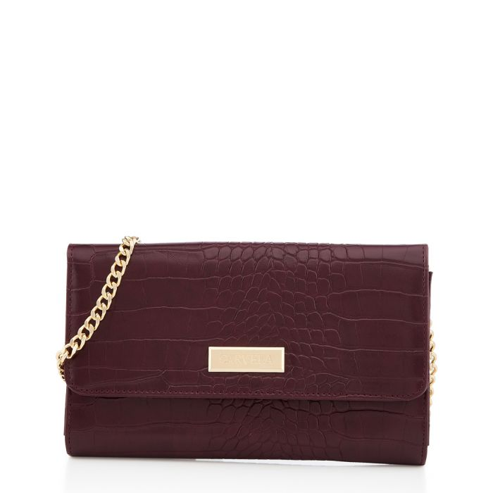 Image for Favour wine moc-croc fold-over bag