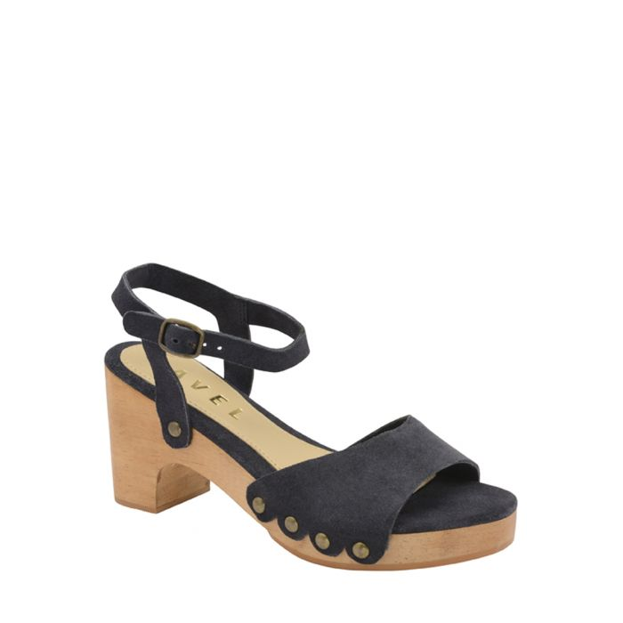 Image for Navy leather block heel sandals
