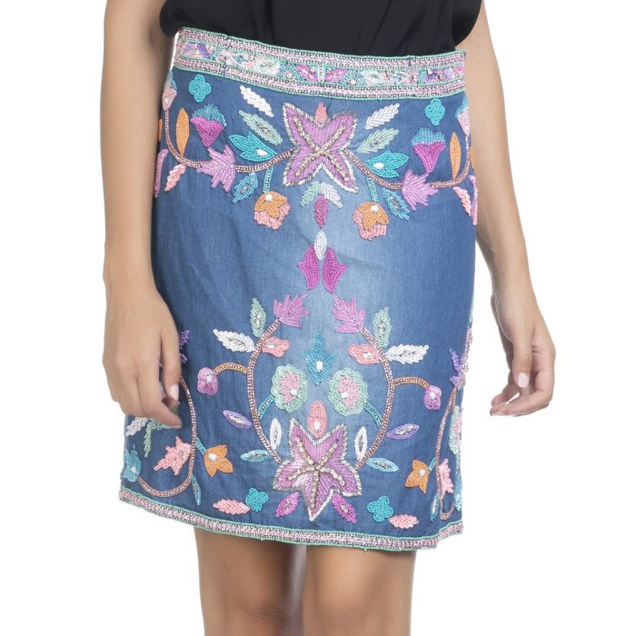 Image for multi-coloured denim embroidered skirt