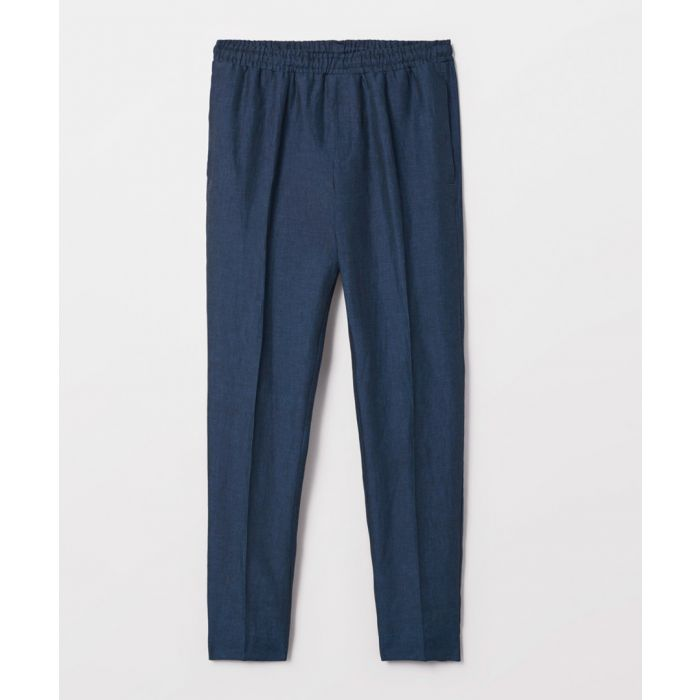 Image for Navy pure linen trousers