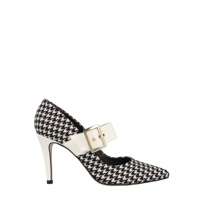 Image for White houndstooth textile court heels