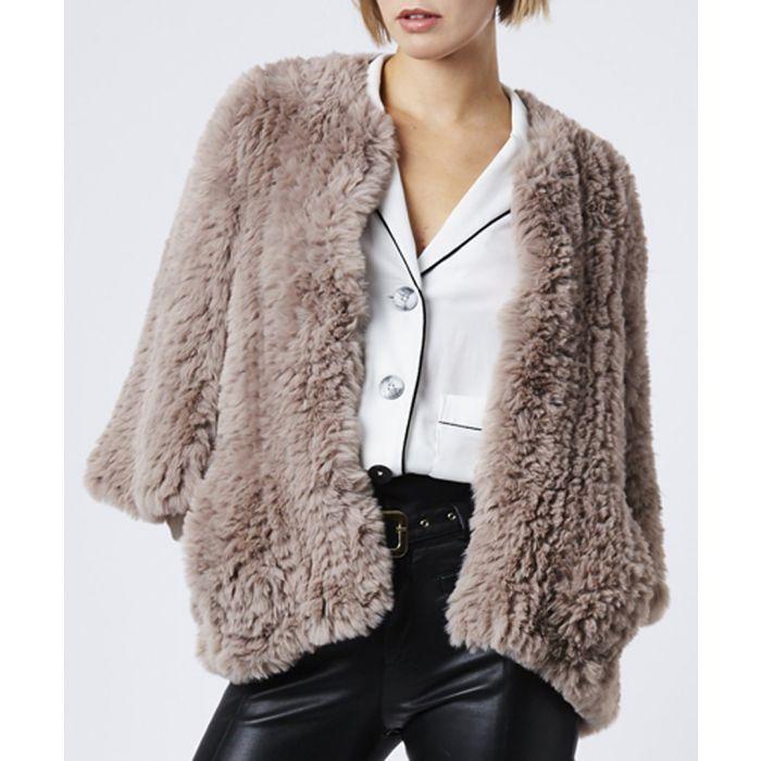 Image for Mocha faux fur cape jacket