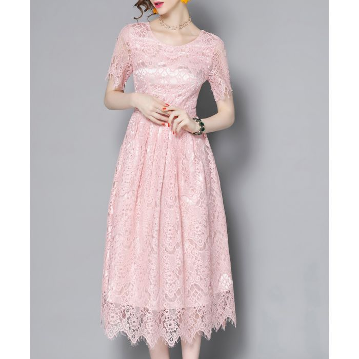 Image for Pink lace midi dress