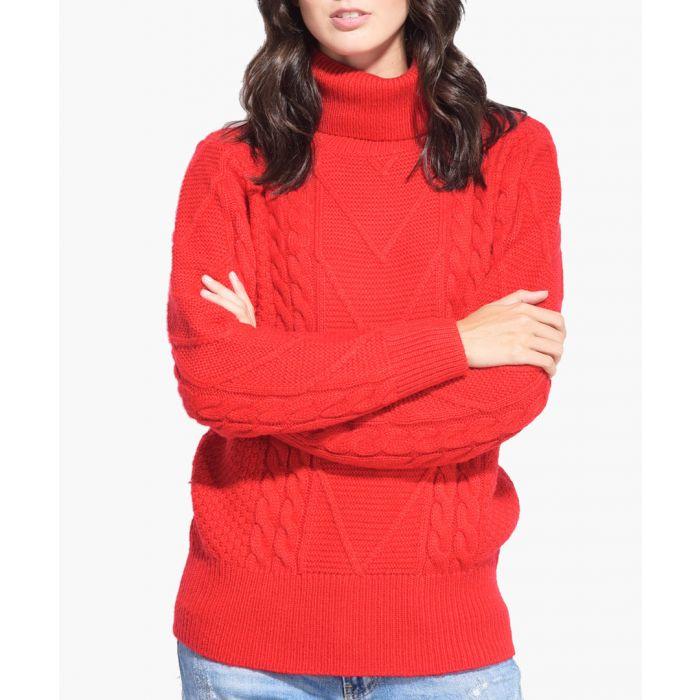 Image for Red cashmere blend roll neck jumper