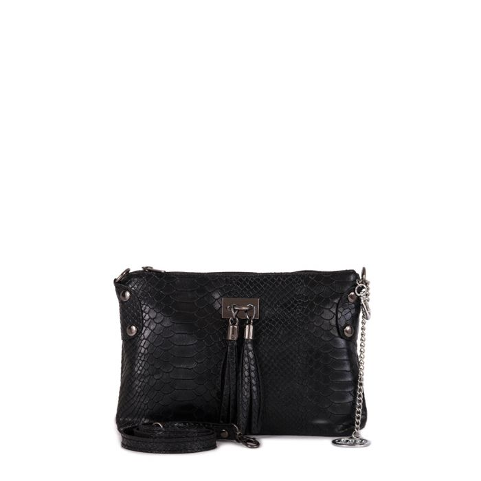 Image for Black moc-croc leather tassel clutch