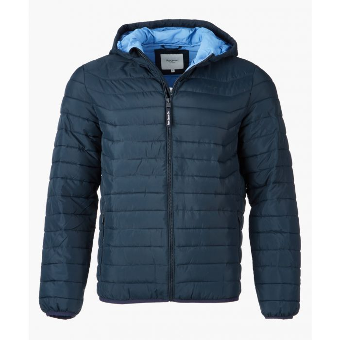 Image for Chatham blue quilted hooded jacket