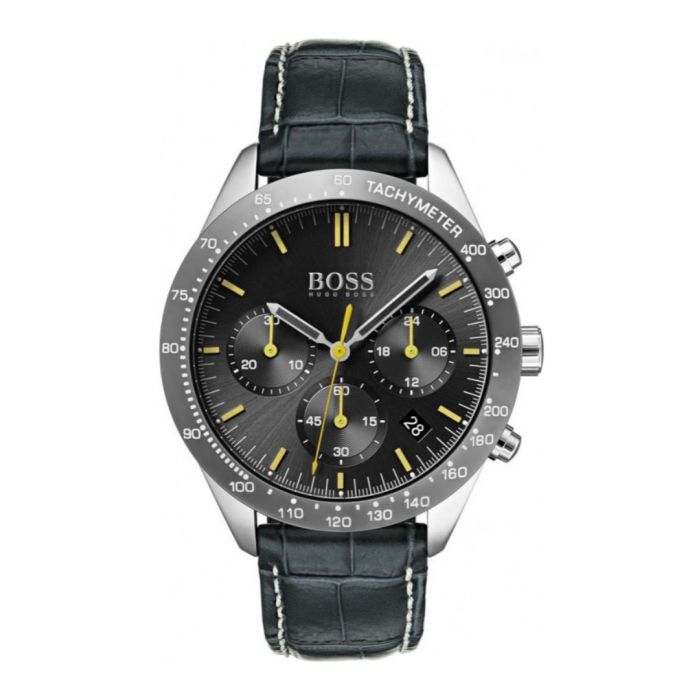 Image for Grey leather quartz watch