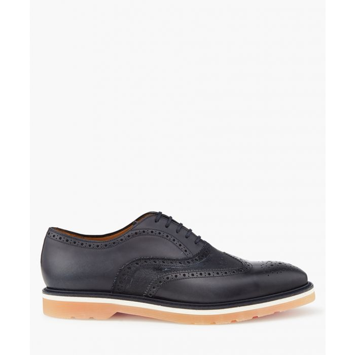 Image for Dark navy leather perforated shoes