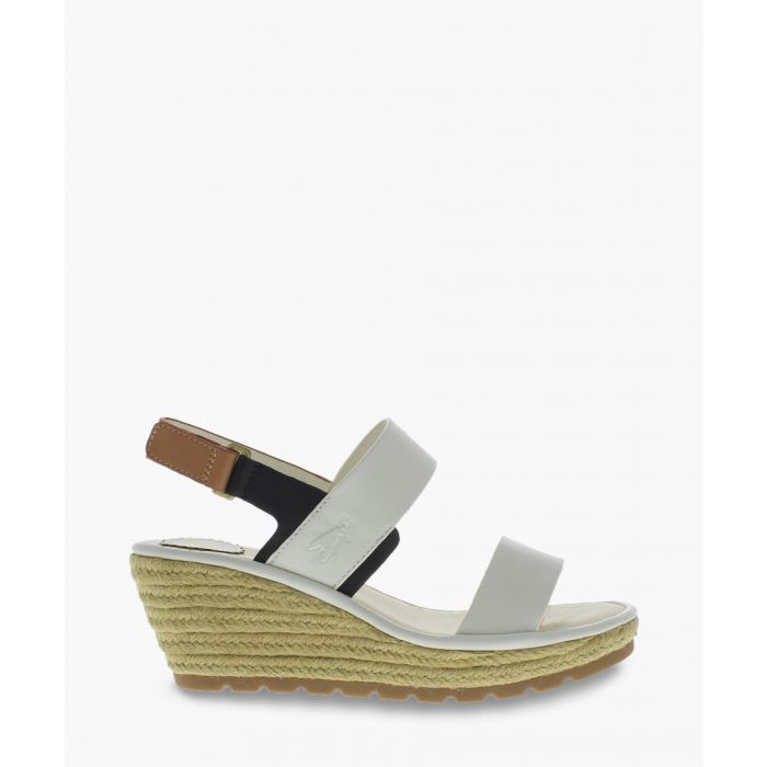 Image for Off-white leather two part wedge sandals