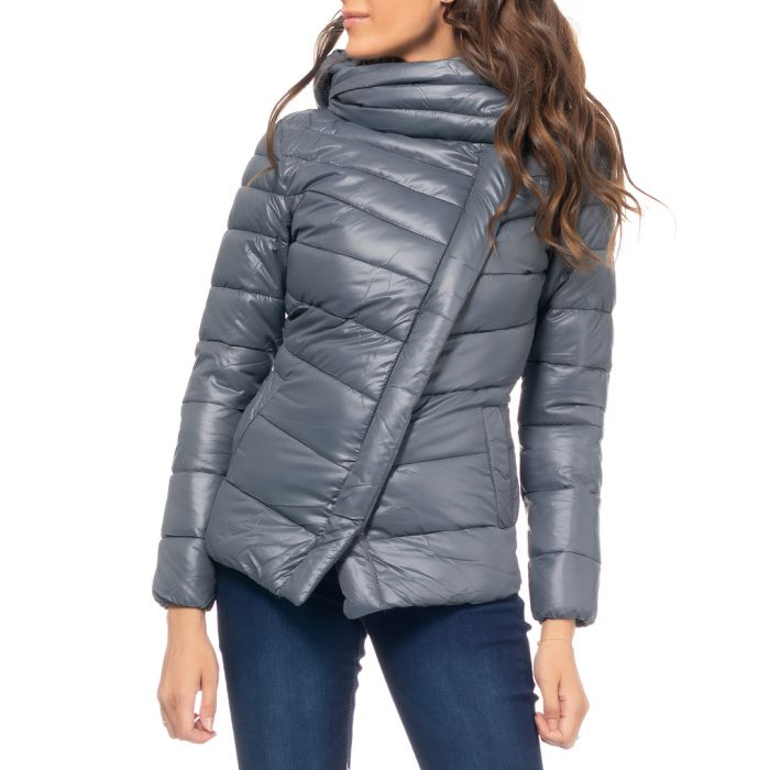 Image for Grey wrap puffer mini jacket
