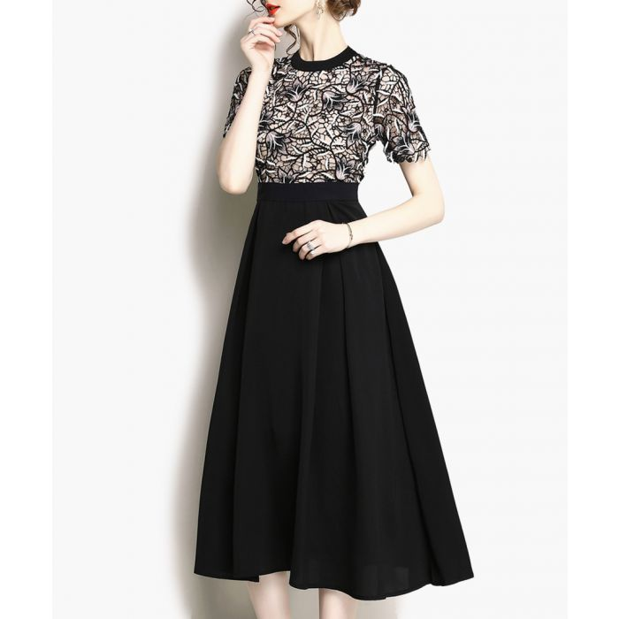 Image for Black short sleeve midi dress