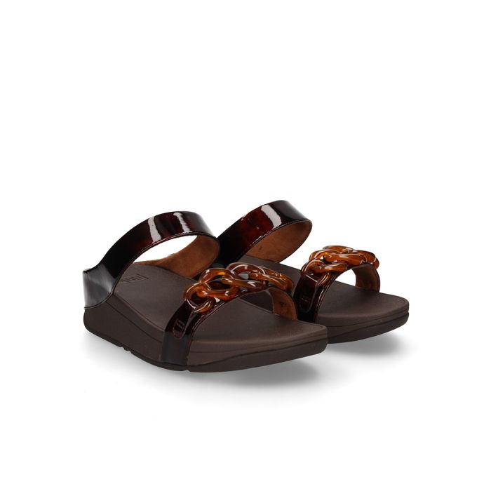 Image for Fino brown faux-leather tortoiseshell sandals