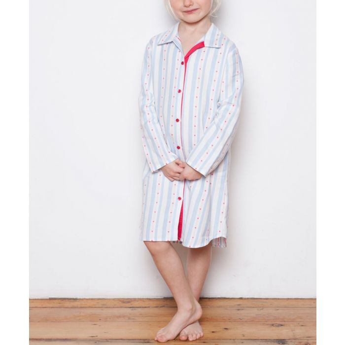 Image for Matilda blue heart printed pyjama shirt