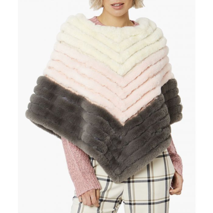 Image for Multi-coloured faux fur poncho