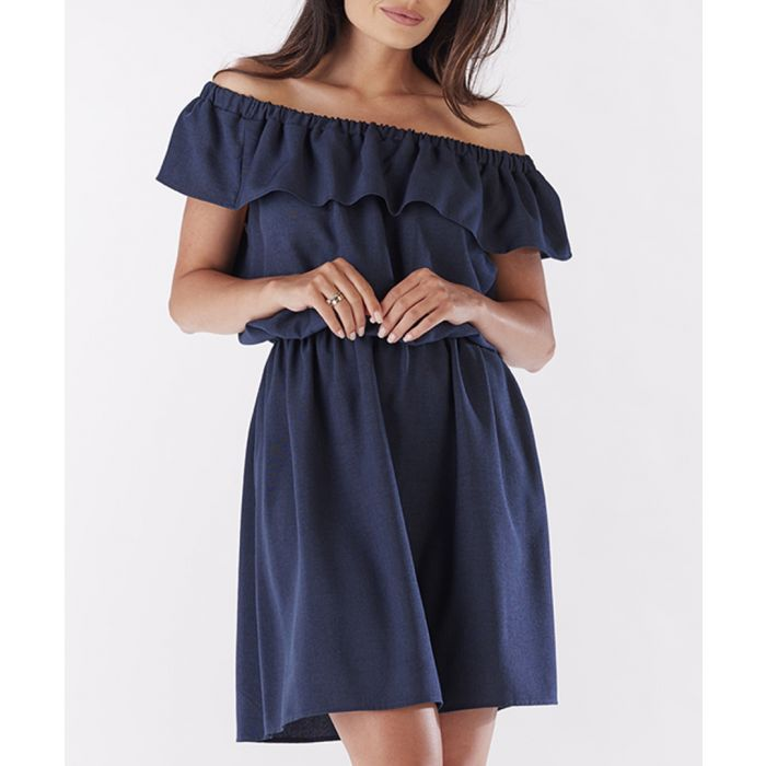 Image for Navy blue flounce dress