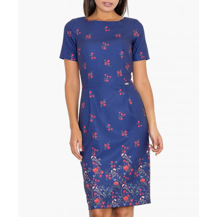 Image for Blue & red floral print dress