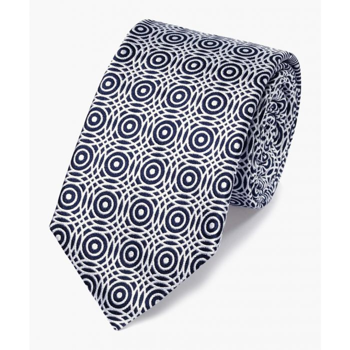 Image for Navy and white silk circle pattern classic tie