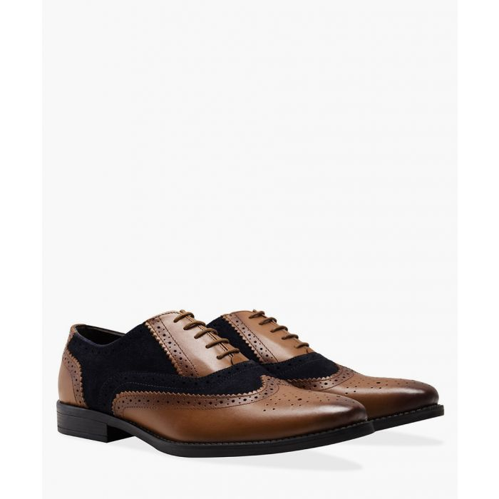 Image for Navy and brown leather Oxford brogue shoes