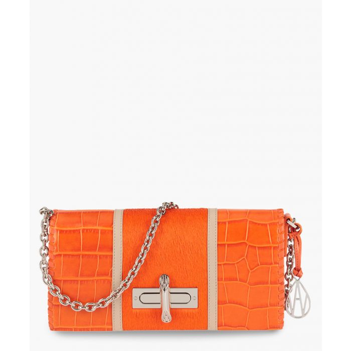 Image for Baguette Costello orange leather clutch