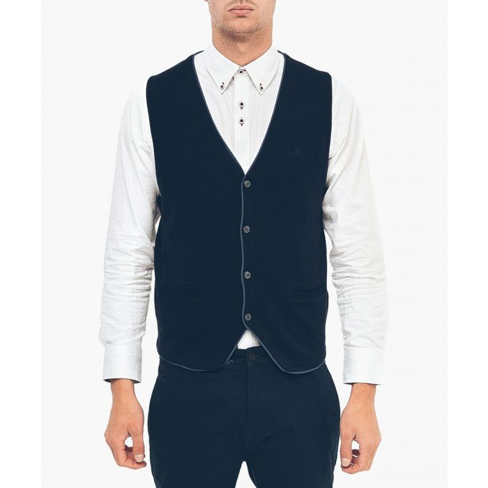 Image for Navy cotton blend waistcoat