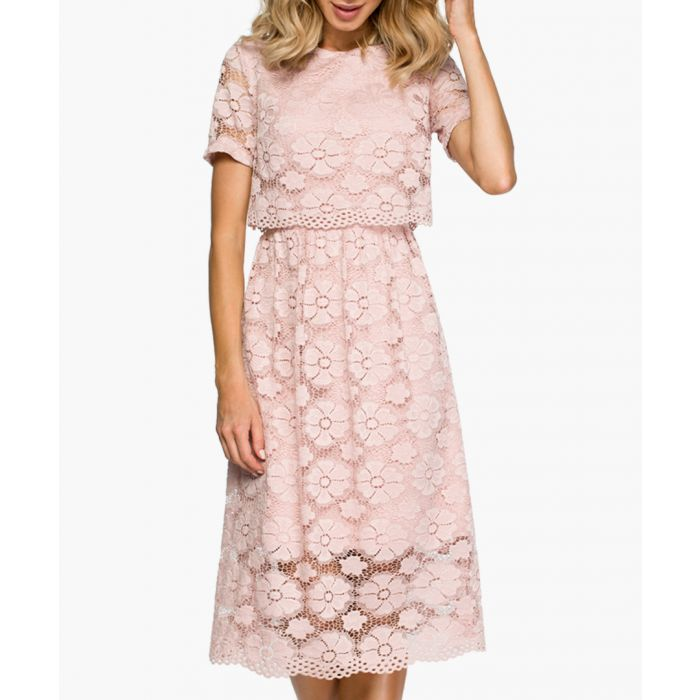 Image for Pink short sleeve lace dress