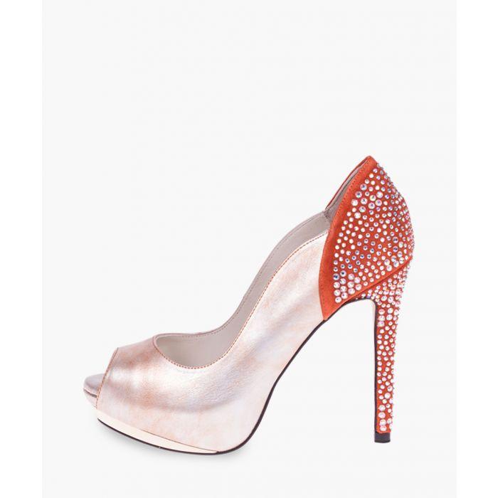 Image for Orange leather heels