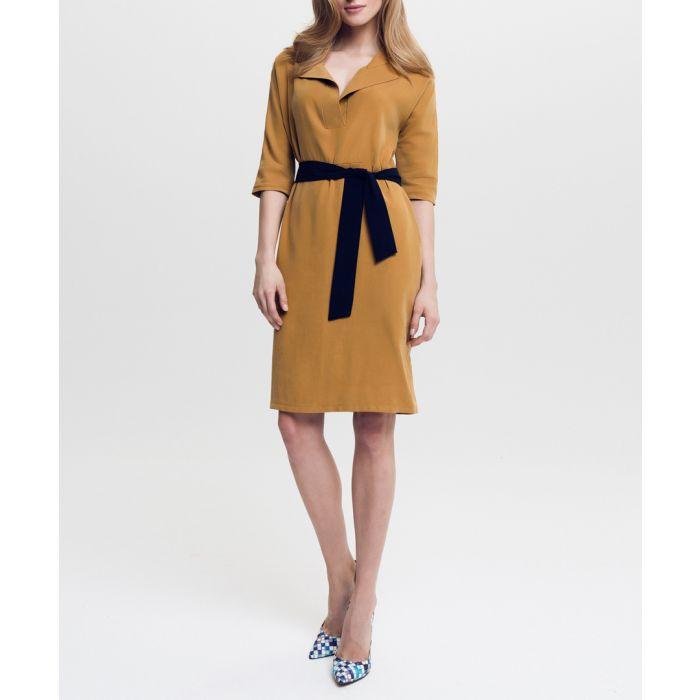 Image for Camel & black tie waist shirt dress