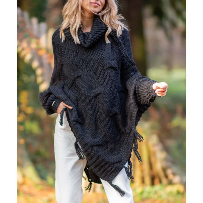 Image for Black knitted alpaca and wool blend poncho