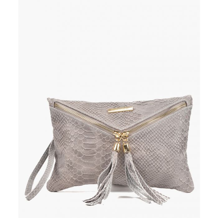 Image for Grey leather clutch