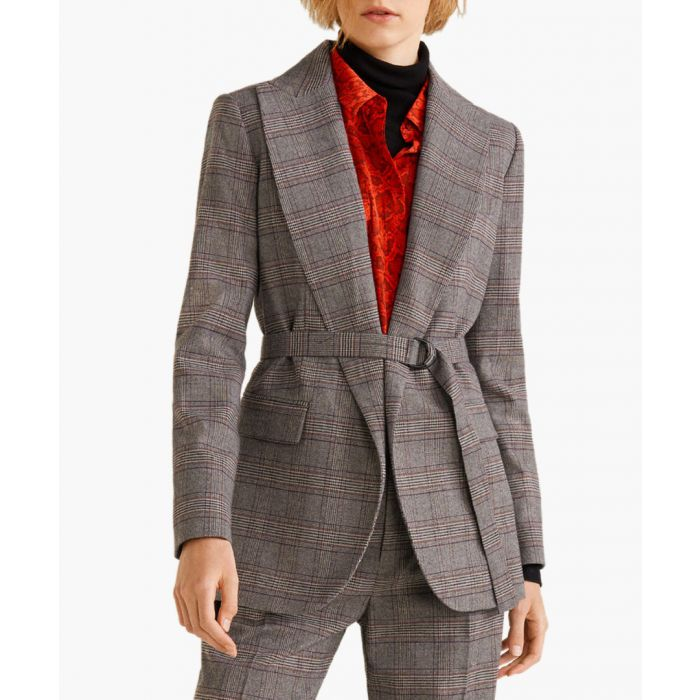 Image for Grey belt check blazer