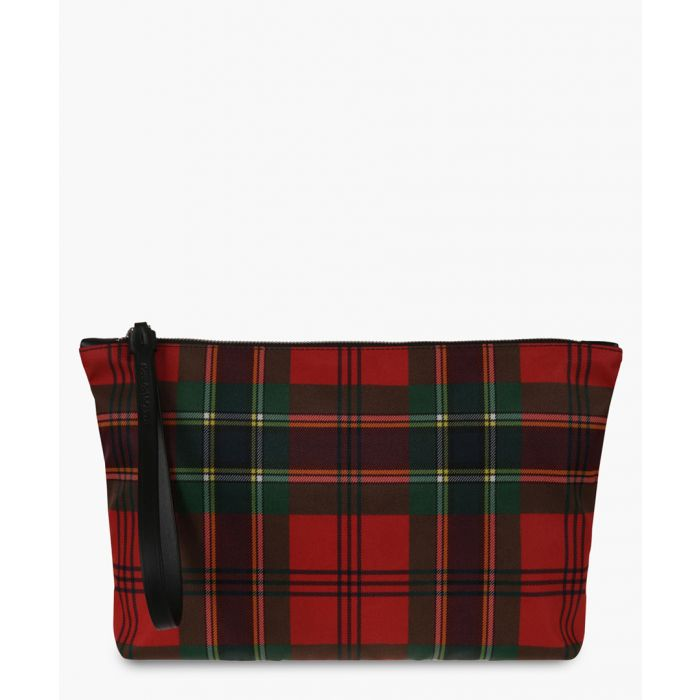 Image for Multi-coloured plaid canvas pouch