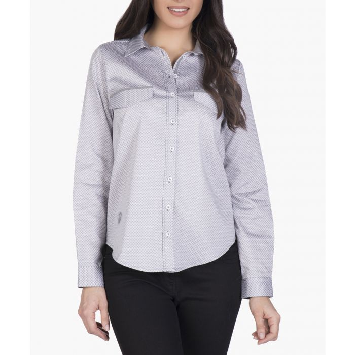 Image for White and grey cotton polo shirt