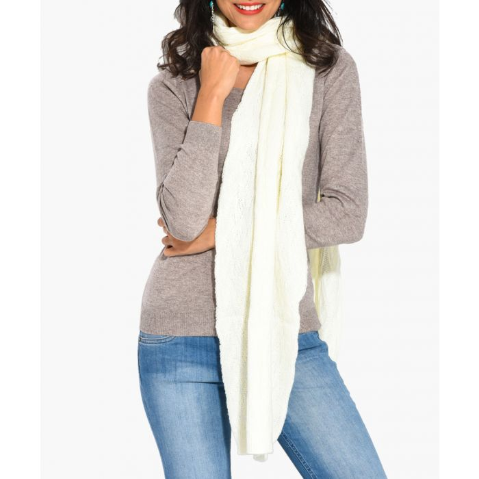 Image for White cashmere and mohair blend scarf