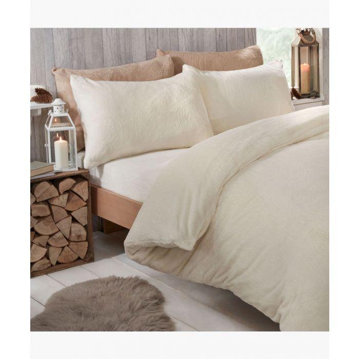 Image for Cream teddy fleece super king duvet set