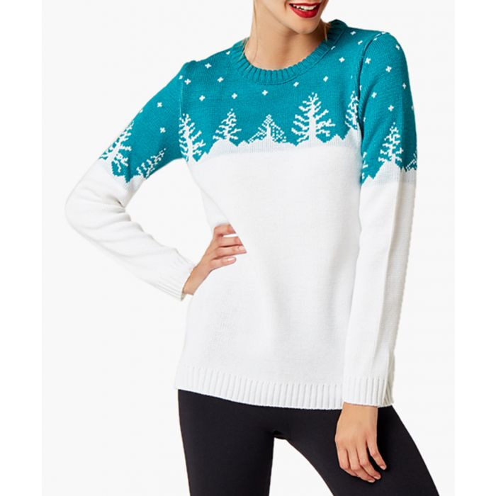 Image for White and green loose cut jumper