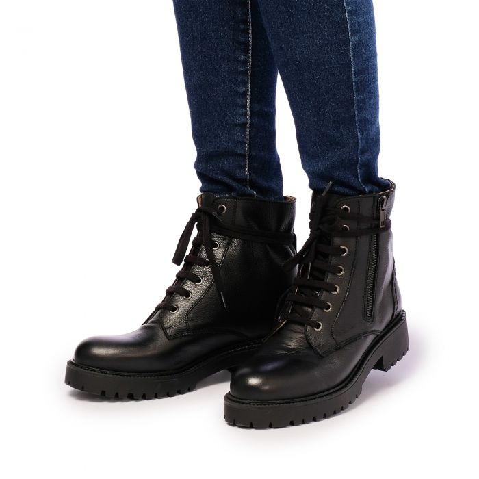 Image for Womens black leather lace up ankle boots